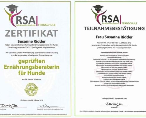 Zertifikat geprüfte Ernährungsberaterin für Hunde Seite
